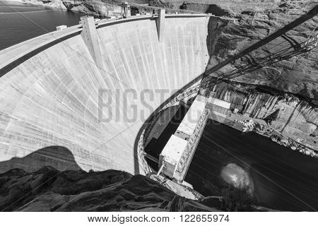Glen Canyon Dam on the Colorado river in Arizona black and white.