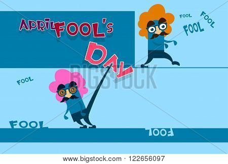 Fool Day April Holiday Greeting Card Banner Comic Crazy Character Fake Nose, Mustache, Wig Flat Vector Illustration