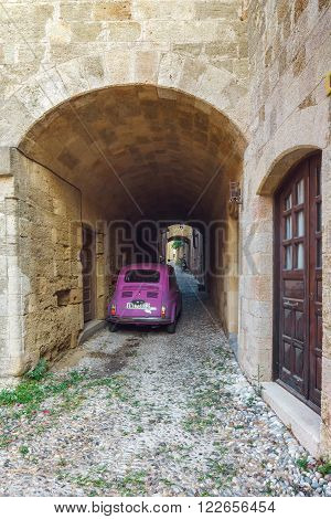 Greece, Rhodes - July 19 The streets of the old town on July 19, 2014 in Rhodes, Greece
