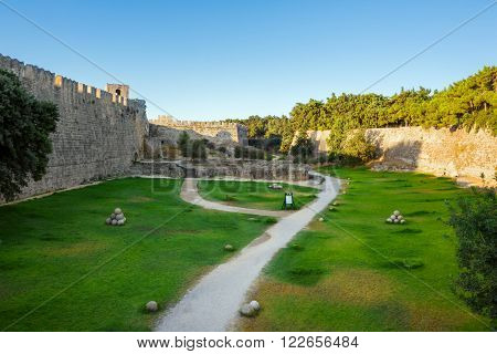 Greece, Rhodes - July 13 The fortress walls of the Old City on July 13, 2014 in Rhodes, Greece