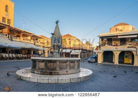 Greece, Rhodes - July 13 Fountain Sidrivani on July 13, 2014 in Rhodes, Greece
