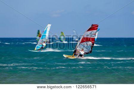 Greece, Rhodes - July 16 Windsurfers on Prasonisi on July 16, 2014 in Rhodes, Greece