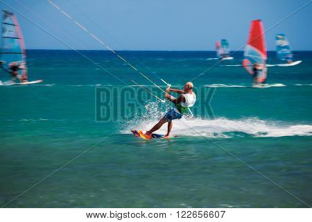 Greece, Rhodes - July 16  Kitesurfing in Prasonisi on July 16, 2014 in Rhodes, Greece
