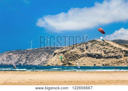 Greece, Rhodes - July 17 2014 Kiters and windsurfers in the Gulf of Prasonisi.on July 17, 2014 in Rhodes, Greece
