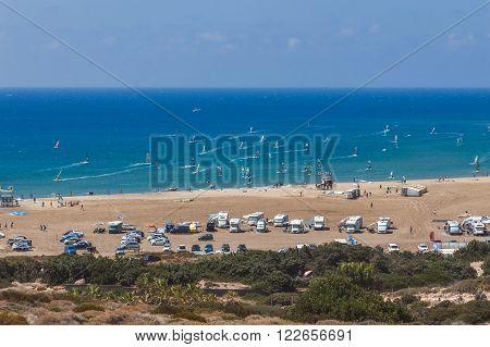 Greece, Rhodes - July 17 Beach Prasonisi on July 17, 2014 in Rhodes, Greece