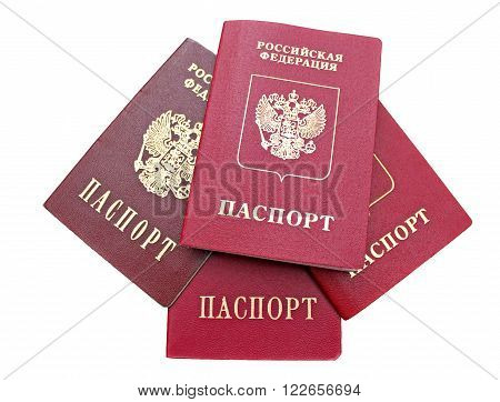 Several passports of a citizen of Russian Federation isolated on white background. The inscriptions in Russian