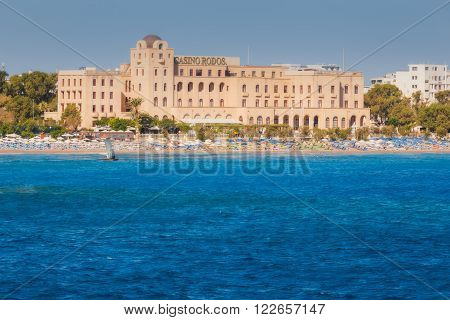 Greece, Rhodes - July 16 : Casino Rhodes view from the sea on July 16, 2014 in Rhodes, Greece