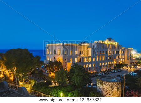Greece, Rhodes - July 16 : Casino Rodos evening on July 16, 2014 in Rhodes, Greece