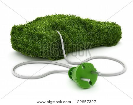 Green car covered with grass texture connected to the electric plug.