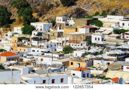 Greece, Rhodes - July 17  The architecture of the city. Lindos on July 17, 2014 in Rhodes, Greece