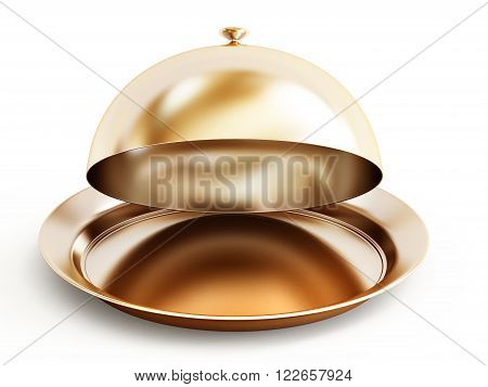 Gold serving plate isolated on white background