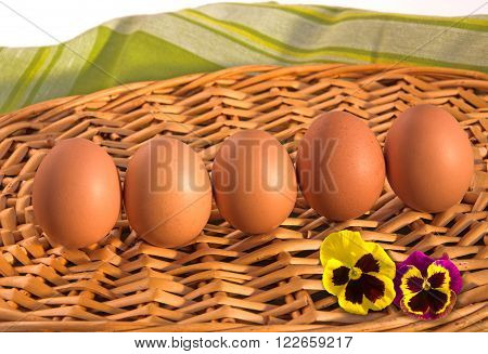 Five brown eggs with two beautiful flowers of viola tricolor on wicker tray. Easter theme.