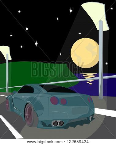 Illustration car in the middle of road bridge night