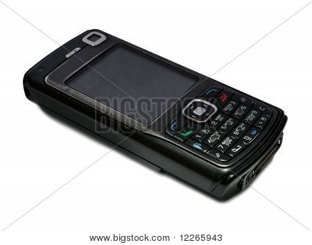 Old cell phone over white