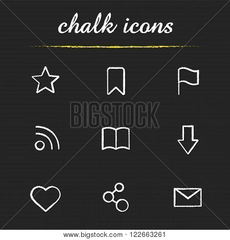 Web browser chalk icons set. Add to favorite star and network connection symbols. Bookmark ribbon, open book and rss feed signs. White illustrations on blackboard. Vector chalkboard logo concepts