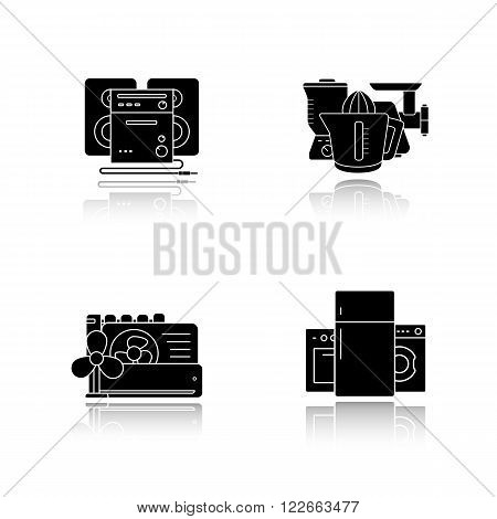 Household appliances drop shadow icons set. Consumer electronics, white goods, kitchenware items, sound system, air conditioning equipment. Cast shadow logo concepts. Vector black illustrations
