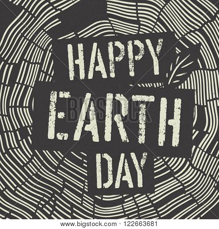 Happy Earth Day Logotype on Tree Rings Background. Template for Celebrating card. Raster version.