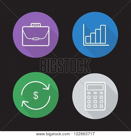 Stock exchange flat linear icons set. Investment portfolio, stock chart, money refund and calculator symbols. Finance infographics. Long shadow outline logo concepts. Vector line art illustrations
