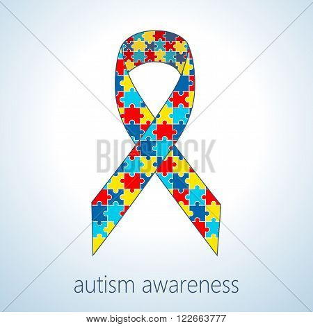 Vector illustration of autism puzzle ribbon, autism awareness day