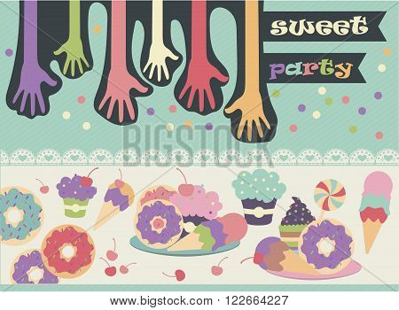 Colored cartoon hands pulling to the sweets on the table