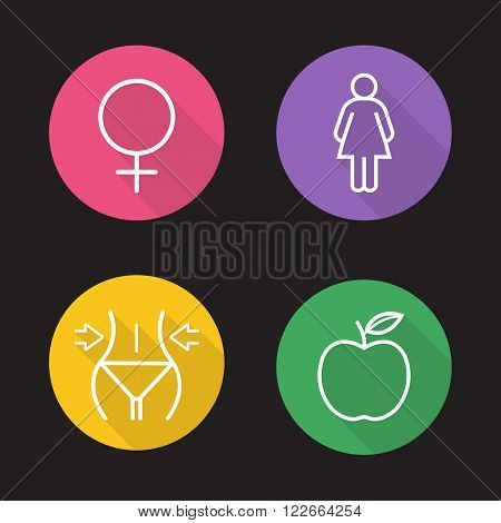 Weight loss diet flat linear icons set. Slimming, female fitness and apple nutrition symbol. Slim and healthy body. Long shadow outline logo concepts. Vector line art illustrations