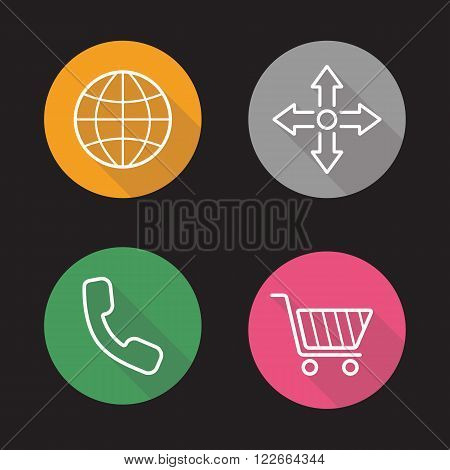 Web store flat linear icons set. Global delivery, navigation arrows cross, call and buy now symbols. Online store interface. Long shadow outline logo concepts. Vector line art illustrations