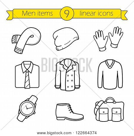 Winter clothes linear icons set. Scarf and hat, coat, sweater and boots thin line symbols.  Autumn season casual style men's clothing and fashion accessories. Vector isolated outline drawings