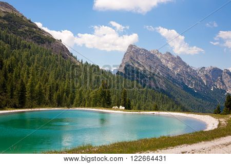 Lake in the Dolomites at Monte Cristallo Massif near to Cortina Italy