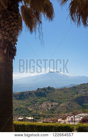 View of the Etna Volcanot from Taormina Italy