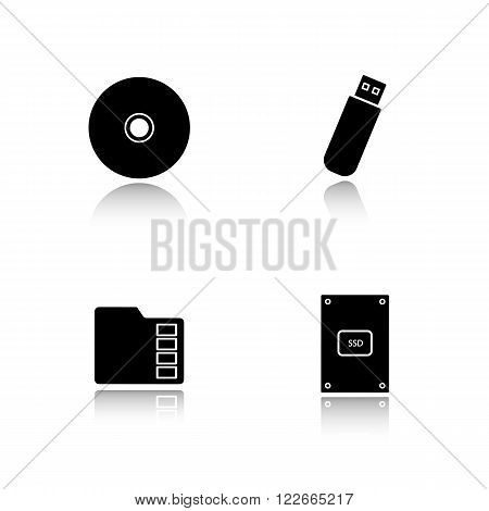 Data storage devices drop shadow icons set. External ssd hard drive, portable usb stick, micro sd mobile memory card, compact disc. Digital gadgets. Logo concepts. Vector black illustrations
