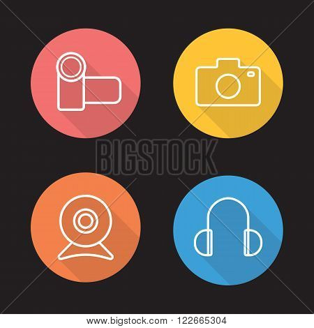 Electronics devices flat linear icons set. Video and photo camera. Webcam and earphones. Audio and optical digital accessories. Long shadow outline logo concepts. Vector line art illustrations