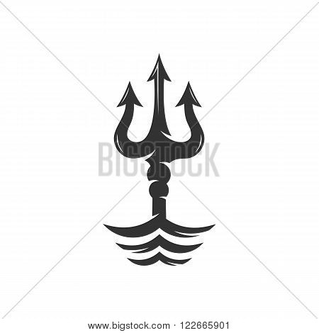 Trident on the waves vector logo - stock vector