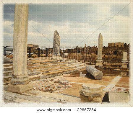 Digital imitation of watercolor painting Herod's palace ruins in Caesarea Israel