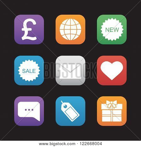Web store flat design icons set. Internet marketing and e-commerce symbols. Online shop buttons. Gift box, price tag, chat bubble, new and sale badges. Mobile application graphic interface. Vector