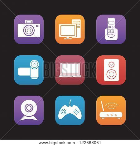 Consumer electronics flat design icons set. Desktop digital devices. Pc with monitor and laptop, video and photo camera. Wifi router and gamepad. Web application graphic interface buttons. Vector