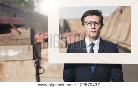 Businessman White Picture Frame Concept