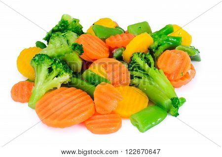Steamed Vegetables Potatoes, Carrots, Cauliflower and Broccoli Studio Photo
