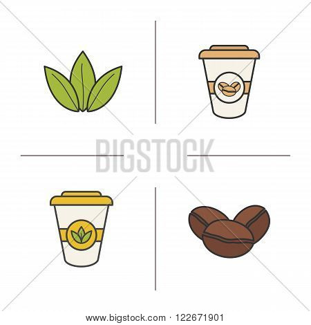 Tea and coffee color icons set. Roasted coffee beans, green tea leaves and disposable paper cups symbols. Coffee to go sign. Hot drinks logo concepts. Vector isolated illustrations