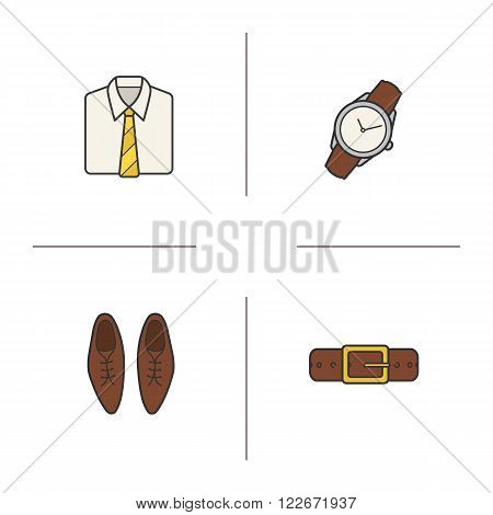 Men's accessories color icons set. White collar shirt with tie, wristwatch, leather belt and classic shoes. Menswear fashion items. Office dress code. Logo concepts. Vector isolated illustrations