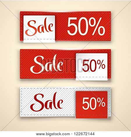 illustration of three different sale cards with shadows