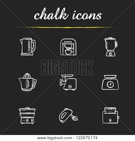 Kitchen electronics chalk icons set. Kitchenware electric appliances items. Consumer household cooking devices. Steamer and mixer white illustrations on blackboard. Vector chalkboard logo concepts