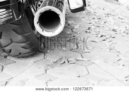 Motorcycle exhaust black and white color background