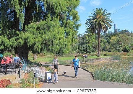 MELBOURNE AUSTRALIA - MARCH 20, 2016: Unidentified people visit Royal Botanic Gardens.