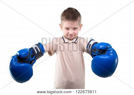 Little boy with boxing gloves on white background