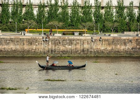 Buenos Aires - January 24, 2016: walking boat in Puerto Madero, Buenos Aires, Argentina on January 24, 2016