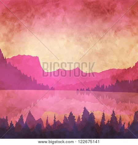 Vector illustration. Landscape with a mountain lake at sunset. Retro effect.