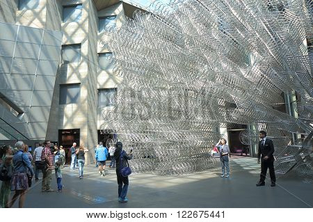 MELBOURNE AUSTRALIA - MARCH 20, 2016: Unidentified people visit National Gallery of Victoria. National Gallery of Victoria known as NGV is the oldest art museum in Australia founded in 1861.
