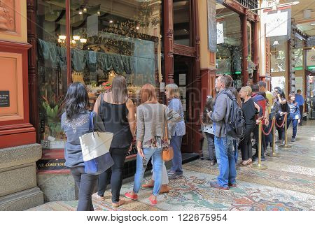 MELBOURNE AUSTRALIA - MARCH 20, 2016: Unidentified people queue at Hopetoun Tea Rooms. Hopetoun Tea Rooms is one of the most popular teahouse in Melbourne.