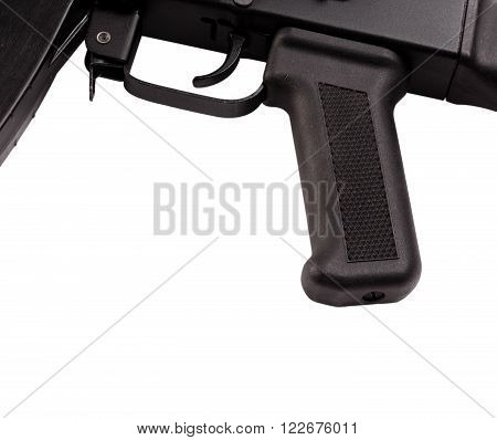 handle and trigger automatic weapons on white background