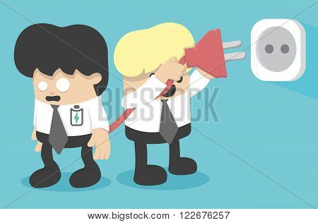 Businessman low energy and charging battery vector eps .10